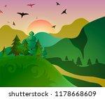 illustration of a sunrise or... | Shutterstock . vector #1178668609