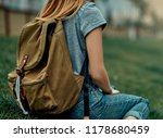 hipster young girl with olive... | Shutterstock . vector #1178680459