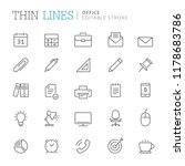 Stock vector collection of office related line icons editable stroke 1178683786