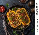 butternut squash stuffed with... | Shutterstock . vector #1178685790