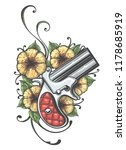 pocket gun and flowers drawn in ... | Shutterstock .eps vector #1178685919