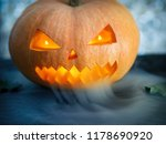 creepy pumpkin with smoke from... | Shutterstock . vector #1178690920