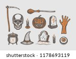 big vintage halloween set of... | Shutterstock .eps vector #1178693119
