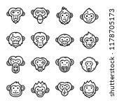 Stock vector monkeys icon set 1178705173