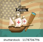 happy columbus day card | Shutterstock .eps vector #1178706796