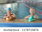 little kids with swimming... | Shutterstock . vector #1178710876