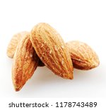 Almond Nuts Isolated On White.