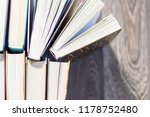 top view of book stack | Shutterstock . vector #1178752480