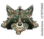 raccon face line art  vector... | Shutterstock .eps vector #1178753860