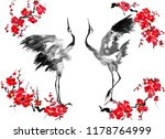 Two Enamored Japanese Cranes...