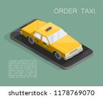 yellow cab banner isometric.... | Shutterstock .eps vector #1178769070