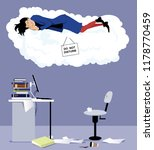 woman sleeping on a cloud with... | Shutterstock .eps vector #1178770459