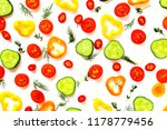 collection of sliced vegetables ... | Shutterstock . vector #1178779456