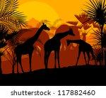 Giraffe at sunset vector background - stock vector