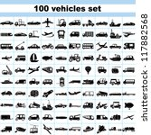 100 vehicles, set of vehicles, transportation set, car set, ship set, plane set, logistic icon
