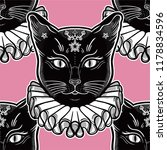 black cat in a vintage collar... | Shutterstock .eps vector #1178834596