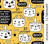 halloween seamless pattern with ... | Shutterstock .eps vector #1178846689