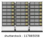Computer Server Racks isolated on white background - stock photo