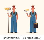 workers holding roll and bucket ... | Shutterstock .eps vector #1178852860