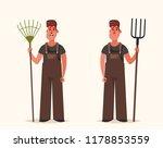 worker holding rake and forks.... | Shutterstock .eps vector #1178853559