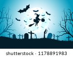 halloween background with witch.... | Shutterstock . vector #1178891983