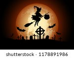 halloween background with witch ... | Shutterstock . vector #1178891986