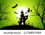 halloween background with witch ... | Shutterstock . vector #1178891989
