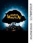 halloween background with tree... | Shutterstock . vector #1178892019