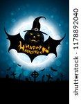 halloween background with bat... | Shutterstock . vector #1178892040