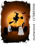 halloween background with witch ... | Shutterstock . vector #1178892046