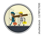 geometric workers cartoons | Shutterstock .eps vector #1178917030