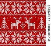 Red Knitted Sweater With Deer...