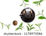 green tea in tea pot on white... | Shutterstock . vector #1178973586