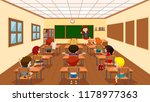 children in classroom scene... | Shutterstock .eps vector #1178977363