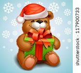 christmas teddy bear | Shutterstock .eps vector #117900733