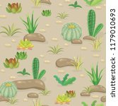 seamless pattern with cactus in ...   Shutterstock .eps vector #1179010693