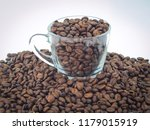 coffee bean in cup on white... | Shutterstock . vector #1179015919