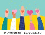 Stock vector concept of charity and donation give and share your love to people hands holding a heart symbol 1179033160