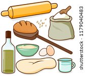 bread baking recipe ingredients | Shutterstock . vector #1179040483