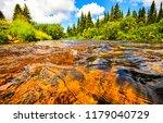 forest river water flow scene.... | Shutterstock . vector #1179040729