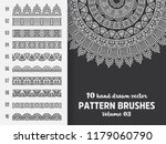 brush collection with mandala | Shutterstock .eps vector #1179060790
