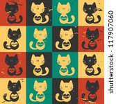 cute seamless pattern cats with ... | Shutterstock .eps vector #117907060