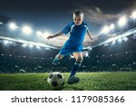 young boy with soccer ball... | Shutterstock . vector #1179085366