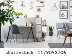 real photo of a home office... | Shutterstock . vector #1179093706
