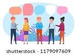 various people talking ... | Shutterstock .eps vector #1179097609
