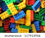 Plastic Toy Blocks On White...