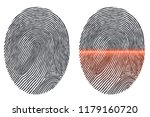 black fingerprint imprint... | Shutterstock .eps vector #1179160720