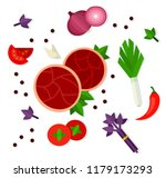 two round raw meat pieces ... | Shutterstock .eps vector #1179173293