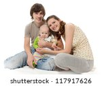 happy family in studio | Shutterstock . vector #117917626
