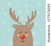 christmas deer greeting card....   Shutterstock . vector #1179176263
